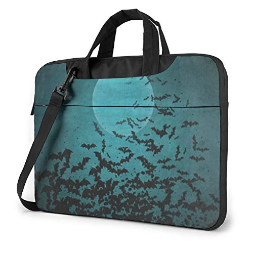Halloween Night Moon and Bat 15.6' Laptop Case Sleeve Briefcase Computer Shoulder Bag W/Strap