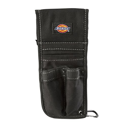 Dickies Box Cutter Sheath for Tool Belt, Durable Canvas with PVC Cut-Resistant Sheath Lining, 3 Pockets, Quick-Clip Storage Carabiner, 2-inch Belt Loop, Black