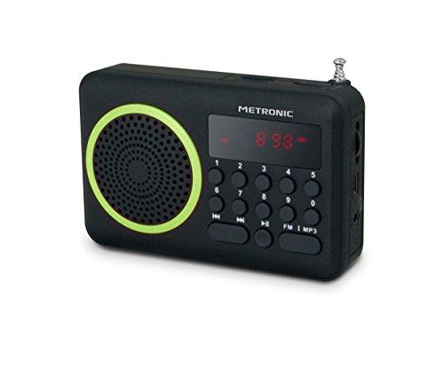 Oferta de Metronic 477202 - Radio portátil FM compacto con puerto USB, lector tarjeta Micro SD, color negro/verde