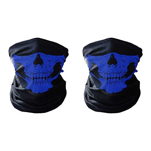 iMixCity 6 in 1 Multi-Function Extérieur Camo Casque de Vélo de Cou Moto Casque Chapeau Bonne-Poussière Vent Protection (2pcs (Bleu + Bleu), Taille Unique)