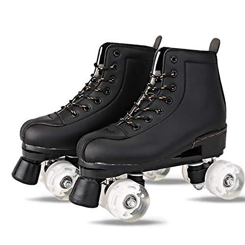 XIAOYUTOU Kunstleder Rollschuhe Double Line Skates Damen Herren Erwachsene Two Line Skating Schuhe Patines Mit Weißem PU 4 Rollen (Color : Black, Shoe Size : 44)