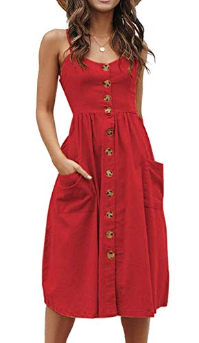 Womens Summer Button Down Casual Swing Plain Solid Midi Dress Pockets Red