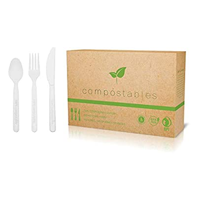 100% Eco-Friendly Compostable Cutlery Set - 300 Pieces (100 Forks | 100 Spoons | 100 Knives) - Durable Disposable Utensils Made from Renewable Plant-Based Resources