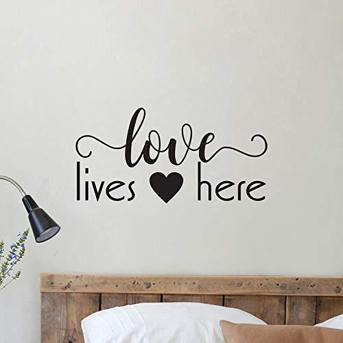 Tianpengyuanshuai Muurstickers Liefde hier Muurstickers Decoratie voor thuis slaapkamer Tweepersoonsbed Romantische muurstickers van vinyl Decoratie voor uw huis