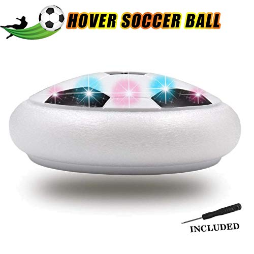Sporgo Air Power Fußball Hover Ball,Fußball Spiel Spielzeug,Mit Weichen Schaumstoff-Stoßstangen Und Bunten LED-Lichtern KinderSpielzeug Fussball Geschenke Junge Mädchen (Weiß)