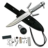 Survivor HK-217LS Fixed Blade Knife with Survival Kit, Silver Reverse...
