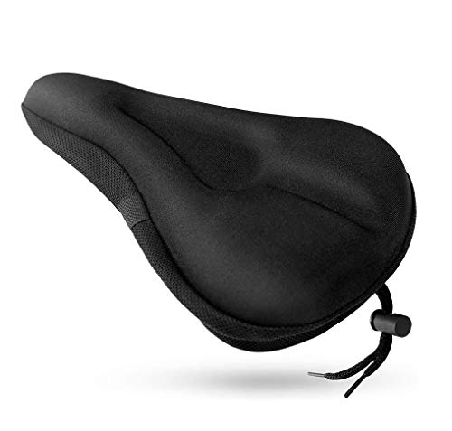 Xipeel Narrow Memory Foam Gel Bike Seat Cover (11 inches x 7 inches) Extra Soft Narrow and Comfortable Exercise Bicycle Saddle Cushion Fits Cruiser Stationary Bikes, Spinning with Waterpoof Cover