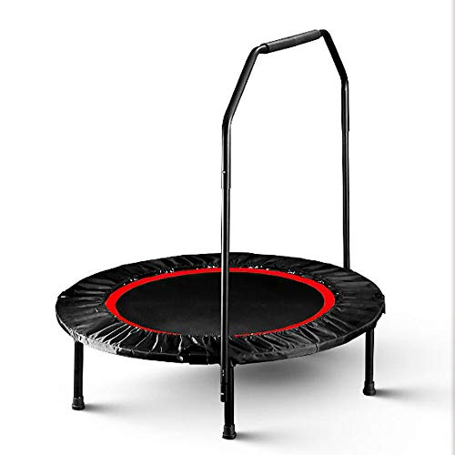 RGFITNESS Portatile e Pieghevole con Corrimano Rebounder Trampolino Indoor in casa Mini Rebounder con, Fitness Body Exercise,Red