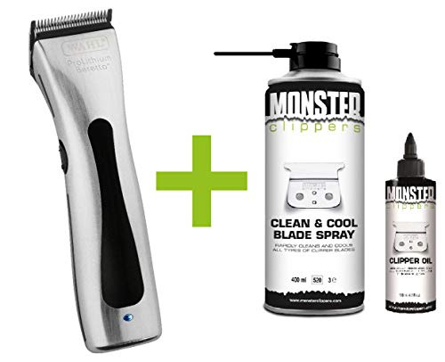Wahl Beretto Tondeuse Chrome + Monster Clippers Clean & Cool Blade Spray & Olie