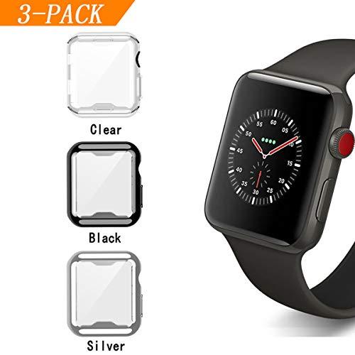 Cerike kompatibler Apple Watch 38mm Displayschutz, Soft Slim FullAround Protective hülle iWatch 3 Schutzhülle für Apple Watch Smartwatch Serie 3,Serie 2 (38mm, Schwarz/Silber/Klar)