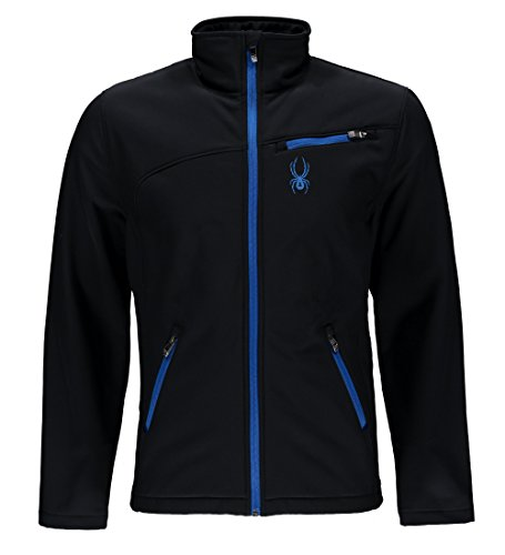 Spyder Men's Softshell Jacket, Black/Stratos Blue, Small