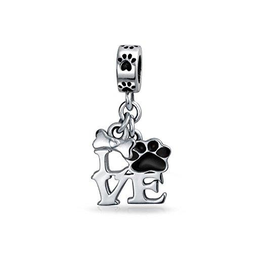 Bling Jewelry Ich Schwarze Hund Katze Pfotenabdruck Haustiere Baumeln Charm Bead Damen Jugendlich Silber Passt Europäischen Armband