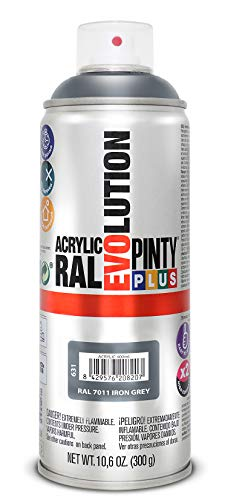 PINTYPLUS EVOLUTION 631 Pintura Spray Acrílica Brillo 520cc Iron Grey Ral 7011, Gris, Estándar