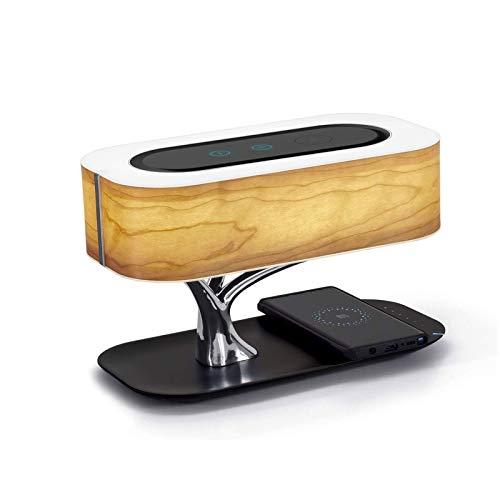 Lámpara para mesita de noche oriental Lámpara de mesa LED moderna Lámpara de mesita de noche Antigua altavoz Bluetooth y cargador inalámbrico, lámpara de escritorio táctil de atenuación continua con f