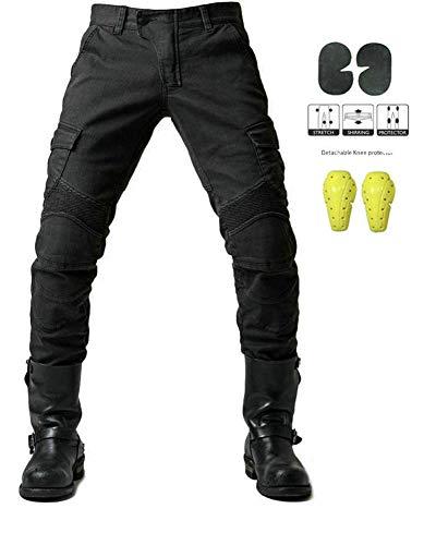GELing Sportliche Motorrad Hose Mit Protektoren Motorradhose mit Oberschenkeltaschen ,Schwarz,L