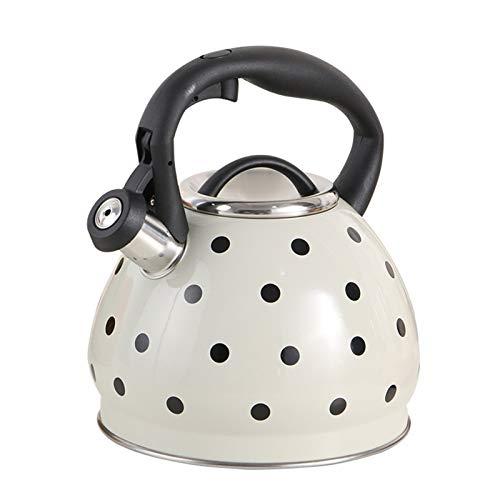 SQL Tetuga de Gas de hervidor Tetera de Acero Inoxidable Tetera silenciosa Caldera Inducción Cocina de Gas Estufa de Gas de Gran Capacidad de Gran Capacidad Café de la casa (Color : White)