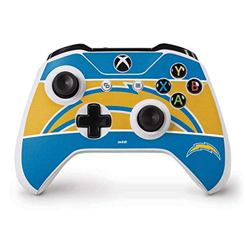 Skinit Decal Gaming Skin Compatible with Xbox One S Controller - Officially Licensed NFL Los Angeles Chargers Zone Block Design