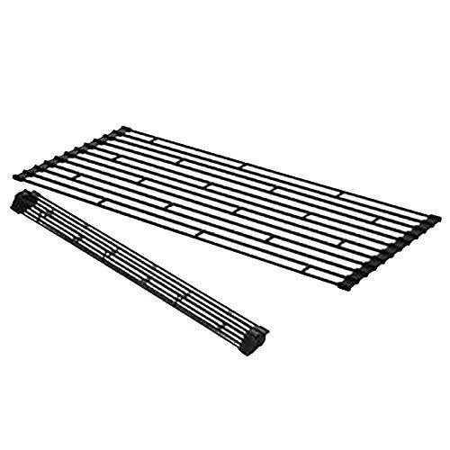 escurridor Enrollable, Ahorra Espacio, La Rejilla De Metal para Platos sobre El Fregadero La Rejilla para Platos Se Enrolla(Color:Negro,Size:42×26×0.8cm)