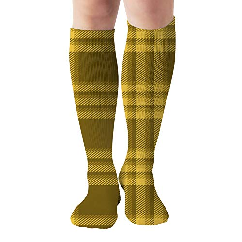 Yellow Plaid Flannel Shirt Abstract Beauty Fashion Compression Socks Women & Men, Best Athletic & Medical Running Flight Travel Pregnant 19.68 Inch