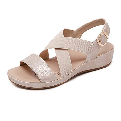 Meeshine Women's Summer Wedge Sandals Casual Outdoor Comfortable Slip on Sandals Walking Shoes with Arch Support (8.5 B(M) US,Golden)