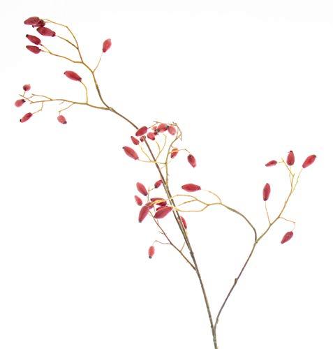 DauerFloristik Hagebutten Zweig rot künstlich 88 cm