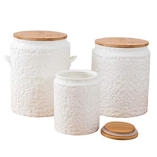 Contenitori Da Cucina In Ceramica Con Coperchio In Bambù a Chiusura Ermetica, Contenitori Per Alimenti Da Cucina In Stile Artistico Di Design Moderno Per Servire Tè,