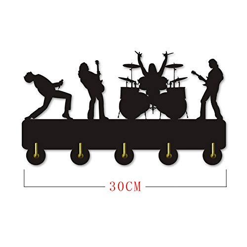 I Love Music Rock Percha de Madera Ropa Sombrero Gancho de Llave/Perchero/Gancho de Pared Decoración del hogar Pegatinas de Pared Cocina Baño Gancho de Toalla, Negro Wall Mounted