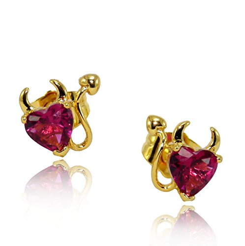Fun Naughty Little Devil 24ct Gold Filled Sexy Stud Earrings with Ruby Red Heart Cubic Zirconia