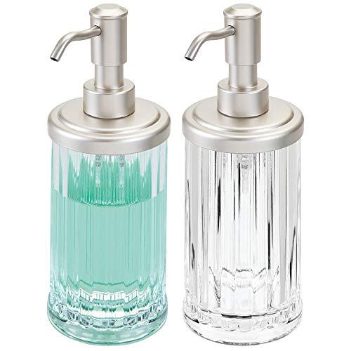 mDesign Set da 2 Dispenser per sapone liquido – Portasapone liquido in plastica – Elegante erogatore di sapone per circa 385 ml di prodotto – Trasparente e argento opaco