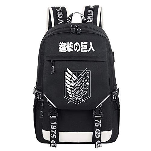 Gumstyle Luminous Anime Kinder Schultasche Book Bag Laptop Rucksack mit USB Ladeanschluss, Attack on Titan 14 (Schwarz) - PHF1A873-14