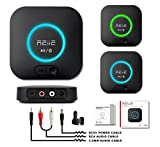 Audio Bluetooth Receiver,HiFi Wireless Audio Adapter,Bluetooth 4.2 Receiver with 3D Surround AptX Low Latency for Home and Car Music Stereo Streaming (Pair 2 at Once)