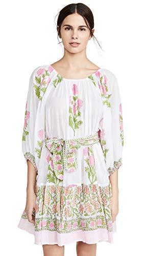 Juliet Dunn Women's Cotton Boho Dress, White/Pale Pink Neon, One Size