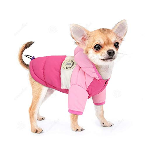 """PET ARTIST Dog Winter Coat Hoodie Snowsuit Apparel with Leash Hole - Waterproof Windproof Hooded Dog Cold Weather Coat for Chihuahua,Yorkie,Poodles,Shih tzu,Mini Pinscher,Pink/Rose,Chest 13.5""""(34cm)"""