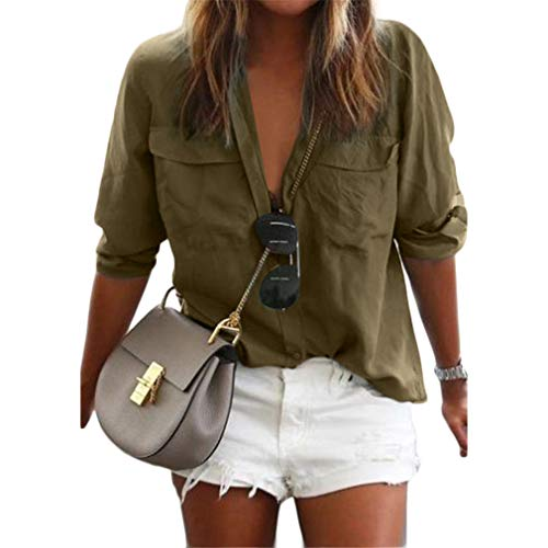 QIYUN.Z Camisa Casual de Mujer Color Liso de Manga Larga con Solapas para Mujer (Verde Militar 2XL)