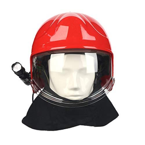 Casco de Rescate de Incendios al Aire Libre Casco de Obra Civil, Casco de Rescate de terremoto de ABS Engrosado protección de Emergencia con Pantalla Protectora y Linterna Deslumbrante