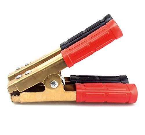 AIHOUSE Abrazaderas De Cargador De Batería, 250 Amperios, Clips De Cocodrilo De Batería De Reemplazo De Cobre Puro Aislado para Vehículo Automático De Automóviles (1 Rojo Y 1 Negro)