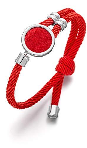 Lunavit Damen Schmuck Armband aus Nylon, Duftarmband mit stylischem Schmuckelement aus Messing mit Filzeinlage für Parfüm, Aromaarmband, Rot Silber