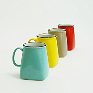 Made By Humans Square Round Mugs, Unique Ceramic Drinking Mugs for Coffee, Tea, Cocoa, Cool and Unusual Novelty Mug Gift Set, 16 oz, Set of 4 Assorted Colors