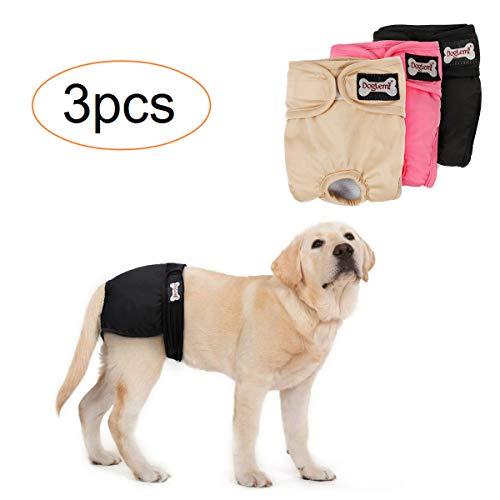 Tineer waschbare weibliche Windeln Wiederverwendbare Welpen auslaufsichere physiologische Windeln Hose für weibliche Hunde (3-Pack) (M)