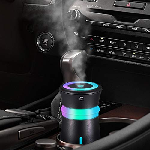 GENUIE USB Car Humidifier Diffuser, 300ML Cool Mist Potable Humidifiers Ultrasonic Home Air Refresher Purifier with 7 Colors LED Night Light, Quiet Operation for Travel Home Baby Office Car (Black)
