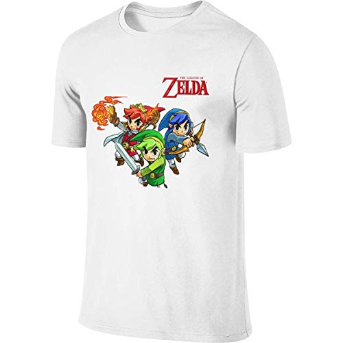 Man Personalized Funny Tees Game Legend Zelda Tri Force Heroes T Shirts Camisetas y Tops(Large)