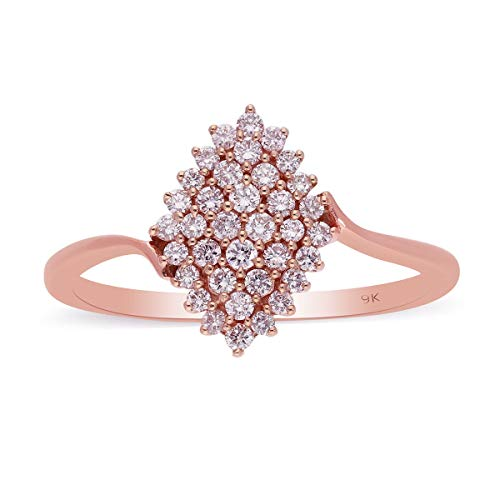 TJC Pink Diamond Cluster Ring for Women Wedding Jewellery in 9ct Rose Gold Size R, TCW 61.02ct.