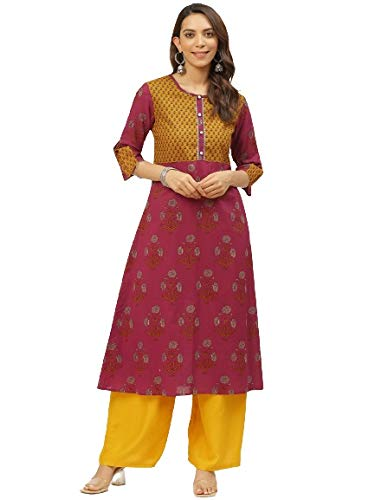 FABRIC FITOOR Cotton Floral Print A Line Kurta for Girls/Ladies/Women(Maroon)