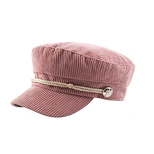 YUMEI Gorra de marinero de moda para mujer, gorra de marinero, gorra clásica de pana punk, remache, gorras marinas, para mujer, dama, chica, capitán, pescador, sombrero de pico y correa ajustable