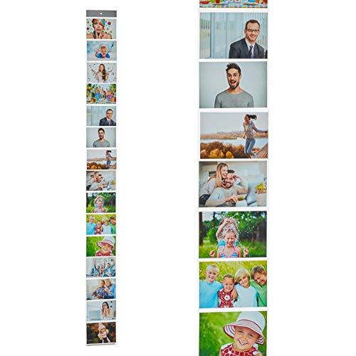 HAC24 Fotovorhang mit 15 Fototaschen 10x15cm für Bilder im Querformat Fotohalter Bildervorhang Bilderhalter Foto Vorhang