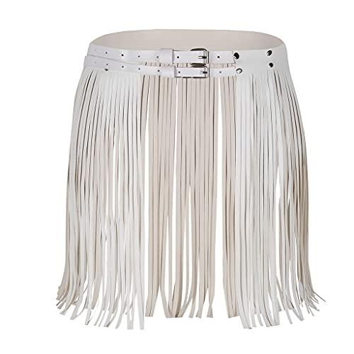 NMJKH Señoras ajustables de cuero de imitación de cuero Falda con flecos Falta Cinturón Etapa de moda Traje Vestido de reunión (Color : A, Size : One size)