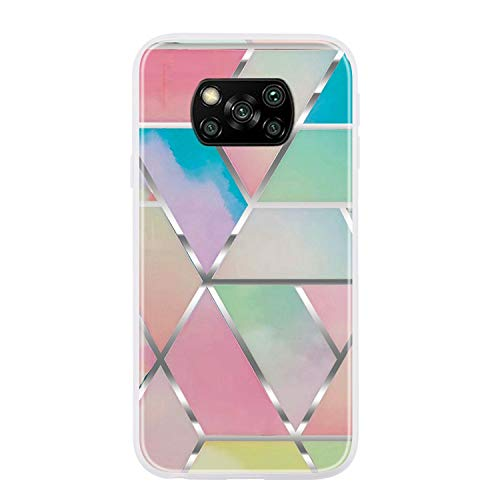 Everainy Funda Compatible para Xiaomi Poco X3 NFC Silicona Bumper Ultrafina Mármol Dibujos Motivo Tapa Goma Case Antigolpes Resistente Protección Cover (Color)