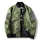 HANGON Men Bomber Jacket Both Side Wear Casual Windbreaker Man Pilot Jacket with Patches Green Thin Mens Coat Outwear Clothing,ZA267