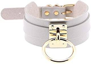 Collar European and American Harajuku PU Leather Gold Single Ring Collar Wide Street-Snap Nightclub O-shaped Choker Neckla...