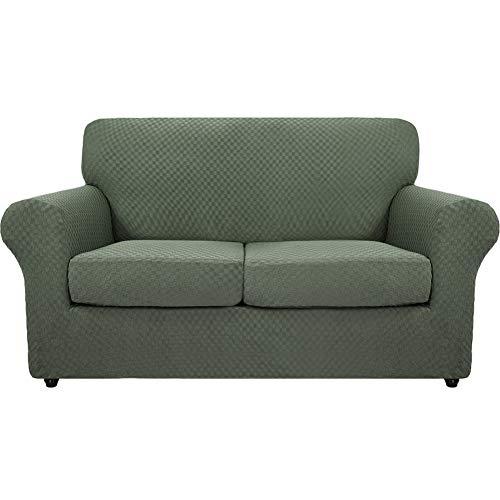 SYLC Fundas de sofá de 3 piezas Jacquard para 2 plazas grandes con 2 fundas de cojín separadas, fundas elásticas antideslizantes con parte inferior elástica (verde)
